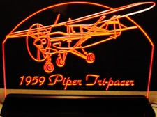 1959 Piper TriPacer Airplane Plane Acrylic Lighted Edge Lit LED Sign / Light Up Plaque Full Size Made in USA