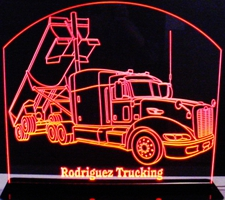 Semi Cement Truck (add your own text) Acrylic Lighted Edge Lit LED Sign / Light Up Plaque Full Size Made in USA