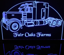 Semi Truck with Sleeper (add your own text) Acrylic Lighted Edge Lit LED Sign / Light Up Plaque Full Size Made in USA
