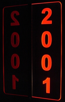 2001 Sample Sign (add your own text/number(s)) Acrylic Lighted Edge Lit LED Sign / Light Up Plaque Full Size Made in USA