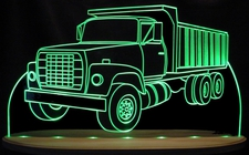 Dump Truck Acrylic Lighted Edge Lit LED Sign / Light Up Plaque