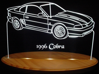 1996 Cobra Ford Mustang Acrylic Lighted Edge Lit LED Car Sign / Light Up Plaque