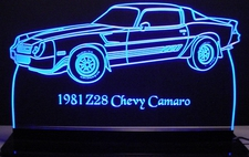 1981 Chevy Camaro Z28 Acrylic Lighted Edge Lit LED Sign / Light Up Plaque Chevrolet Full Size Made in USA