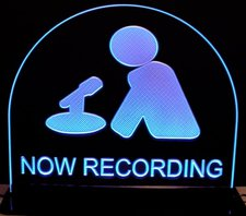Recording Studio Courthouse Now Recording Man & Mic Acrylic Lighted Edge Lit LED Sign / Light Up Plaque Full Size Made in USA
