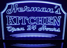 Hermans Kitchen Name Sign Acrylic Lighted Edge Lit LED Sign / Light Up Plaque Full Size Made in USA