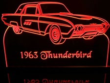 1963 Thunderbird Tbird Acrylic Lighted Edge Lit LED Sign / Light Up Plaque Full Size Made in USA