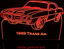 1969 Trans AM Acrylic Lighted Edge Lit LED Sign / Light Up Plaque Full Size Made in USA