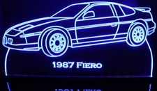 1987 Fiero Acrylic Lighted Edge Lit LED Sign / Light Up Plaque Full Size Made in USA