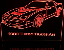 1989 Trans Am Turbo Acrylic Lighted Edge Lit LED Sign / Light Up Plaque Full Size Made in USA