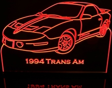 1994 Trans AM Acrylic Lighted Edge Lit LED Sign / Light Up Plaque Full Size Made in USA