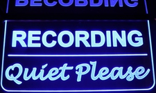 Recording Quiet Please Studio Court Room Acrylic Lighted Edge Lit LED Sign / Light Up Plaque Full Size Made in USA