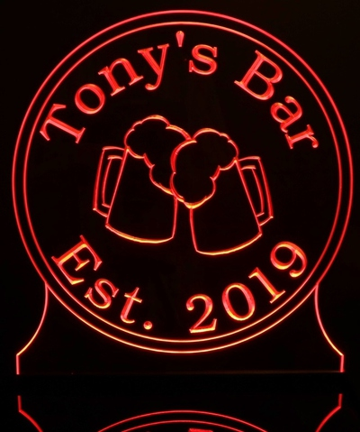 Tonys Bar Sign Acrylic Lighted Edge Lit LED Sign / Light Up Plaque Full Size Made in USA