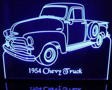 1954 Chevy Pickup Truck Acrylic Lighted Edge Lit LED Sign / Light Up Plaque Full Size Made in USA