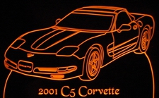 2001 Corvette C5 Acrylic Lighted Edge Lit LED Sign / Light Up Plaque Full Size Made in USA
