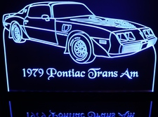 1979 Trans Am Acrylic Lighted Edge Lit LED Sign / Light Up Plaque Full Size Made in USA