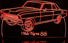 1966 Chevy Nova Acrylic Lighted Edge Lit LED Car Sign / Light Up Plaque Chevrolet