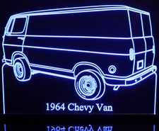 1964 Chevy Van Acrylic Lighted Edge Lit LED Truck Sign / Light Up Plaque Chevrolet