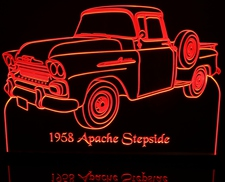 1958 Apache Stepside Pickup Truck with spare Acrylic Lighted Edge Lit LED Sign / Light Up Plaque Full Size Made in USA