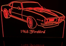 1968 Firebird Acrylic Lighted Edge Lit LED Sign / Light Up Plaque Full Size Made in USA