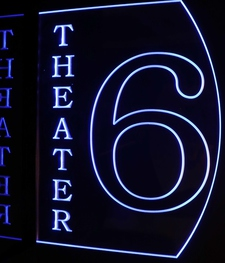 Theater 6 Home Theater (add your own text) Shown is the LH Flag Mount Acrylic Lighted Edge Lit LED Sign / Light Up Plaque Full Size Made in USA