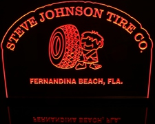 Tire Company Advertising Business (sample only) add your own text & image Acrylic Lighted Edge Lit LED Sign / Light Up Plaque Full Size Made in USA