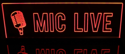 MIC LIVE Recording Studio Acrylic Lighted Edge Lit LED Sign / Light Up Plaque Full Size Made in USA