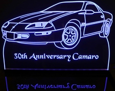 1997 Camaro 30th Anniversary Acrylic Lighted Edge Lit LED Sign / Light Up Plaque Full Size Made in USA
