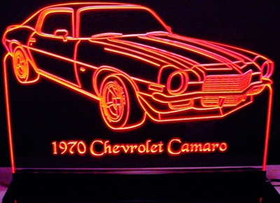 1970 Chevy Camaro Acrylic Lighted Edge Lit LED Car Sign / Light Up Plaque Chevrolet