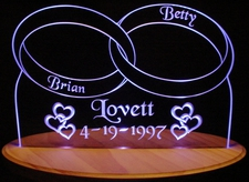 Wedding Rings Anniversary Centerpiece Acrylic Lighted Edge Lit LED Car Sign / Light Up Plaque