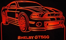 2013 Shelby GT500 Acrylic Lighted Edge Lit LED Car Sign / Light Up Plaque Full Size USA Original