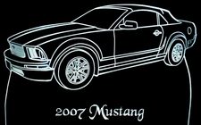 2007 Mustang Convertible Acrylic Lighted Edge Lit LED Sign / Light Up Plaque Full Size USA Original
