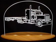 Semi Peterbilt with Trailer Acrylic Lighted Edge Lit LED Truck Sign / Light Up Plaque