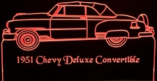 1951 Chevy Deluxe Coupe Acrylic Lighted Edge Lit LED Car Sign / Light Up Plaque Chevrolet