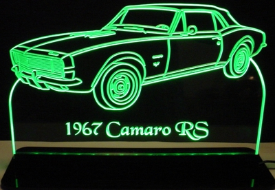 1967 Camaro SS Convertible Acrylic Lighted Edge Lit LED Sign / Light Up Plaque Full Size Made in USA