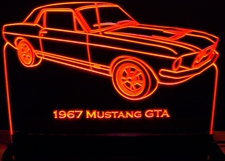 1967 Ford Mustang GTA Acrylic Lighted Edge Lit LED Car Sign / Light Up Plaque