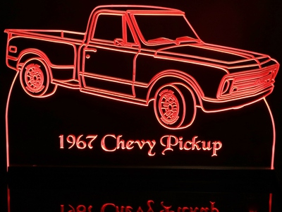 1967 Chevrolet Pickup Acrylic Lighted Edge Lit LED Sign / Light Up Plaque Chevy Full Size Made in USA