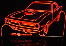 1970 Plymouth Barracuda Acrylic Lighted Edge Lit LED Car Sign / Light Up Plaque