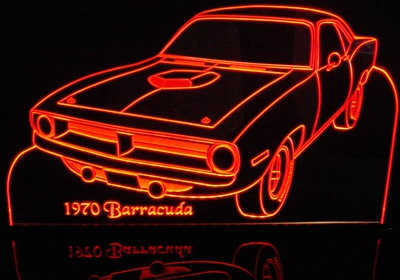 1970 Barracuda Acrylic Lighted Edge Lit LED Sign / Light Up Plaque Full Size Made in USA
