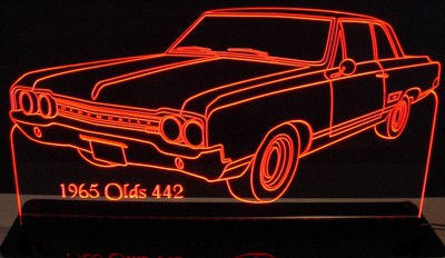 1965 Oldsmobile 442 Acrylic Lighted Edge Lit LED Car Sign / Light Up Plaque