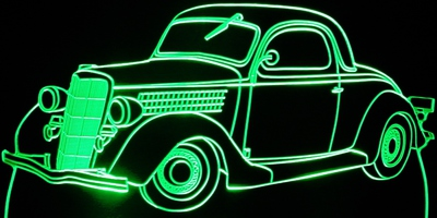 1935 Ford 3 Window Acrylic Lighted Edge Lit LED Car Sign / Light Up Plaque 35