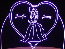 Bride & Groom Wedding Anniversary Centerpiece Acrylic Lighted Edge Lit LED Sign / Light Up Plaque