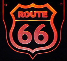 Route 66 Wall sign Acrylic Lighted Edge Lit LED Sign / Light Up Plaque Full Size Made in USA