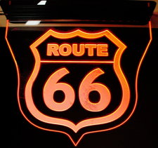 Route 66 Ceiling Mount Acrylic Lighted Edge Lit LED Sign / Light Up Plaque Full Size Made in USA