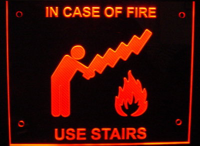 In Case of Fire Use Stairs Wall Sign Acrylic Lighted Edge Lit LED Sign / Light Up Plaque