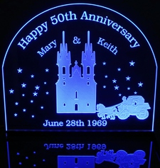 Castle Carriage Dreams Can Come True Wedding Centerpiece Bride & Groom Acrylic Lighted Edge Lit LED Sign / Light Up Plaque