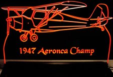 1947 Aeronca Champ Acrylic Lighted Edge Lit LED Sign / Light Up Plaque
