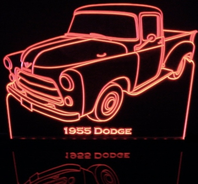 1955 Dodge Pickup Truck Acrylic Lighted Edge Lit LED Sign / Light Up Plaque