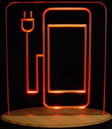 Cell Phone Recharging Station Acrylic Lighted Edge Lit Advertising Business Logo LED Sign / Light Up Plaque