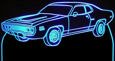1972 Plymouth Satellite Acrylic Lighted Edge Lit LED Car Sign / Light Up Plaque