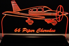 Airplane Piper Cherokee 140 Acrylic Lighted Edge Lit LED Sign / Light Up Plaque Full Size Made in USA